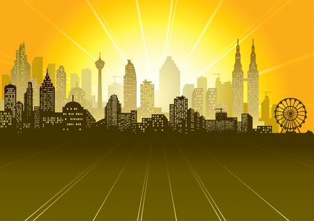 Urban sunrise or sunset scene, vector illustration file