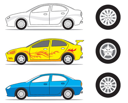 motoring: car and tire graphic, vector illustration file Illustration