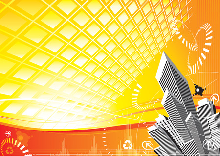 City Solar Power design, vector illustration file with layer Illustration