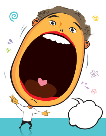 screaming head: Big head surprise, vector illustration file with layers Illustration