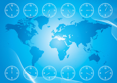 world map and region time, vector illustration file with layers Vector
