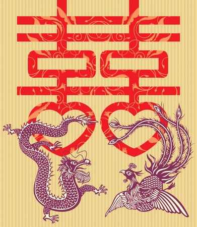 Double happiness Chinese traditional wedding card (vector illustration) Vector