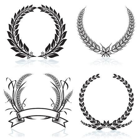 Corone di alloro pattern design, illustrazione vettoriale file.  Vettoriali