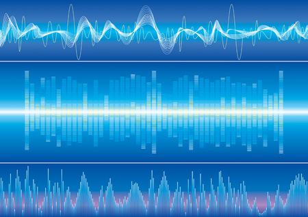 Ondas de sonido de fondo, ilustración vectorial, con capas de archivos.  Foto de archivo - 3020340