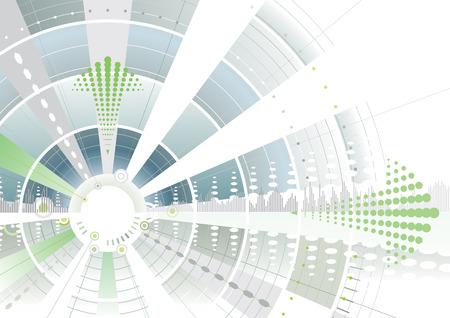 fleche verte: Fl�che verte futuriste cible d'arri�re-plan, illustration vectorielle couches fichier  Illustration