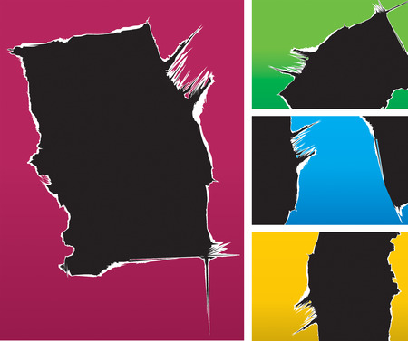 hole: Vector illustration of color cardboard ripped background.