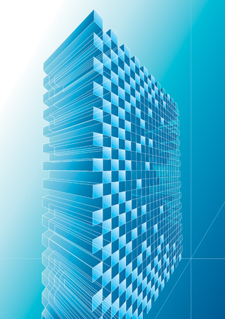architectural styles: Blue structure abstract design, vector illustration with layers.