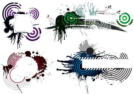 Four Grunge Designs, vector illustration layers file. Vector