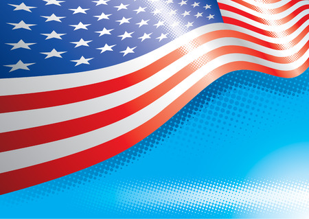 star spangled: US Flag and halftone effects, Vector illustration with layers file. Illustration
