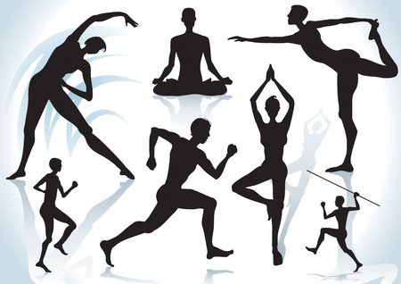 Exercises silhouettes with shadow background, vector illustration layers file. Vector
