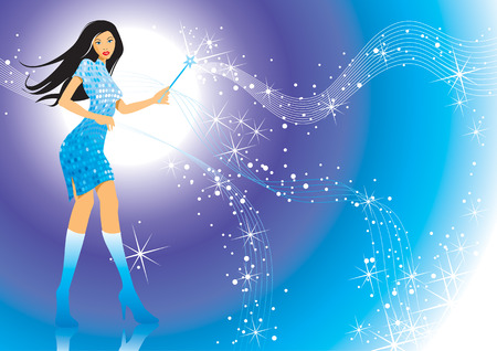 girl magic wand: Modern girl and her magic wand, vector illustration layers file.