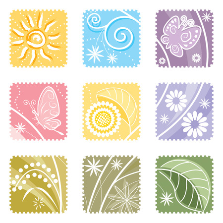 Nine in One floral label, vector illustration layers file.