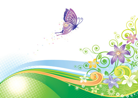 Floral background design, vector illustration layers file. Vector