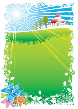 Green Village Scenic, vector illustration layers file. Vector