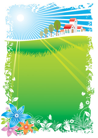 idyll: Green Village Scenic, vector illustration layers file.