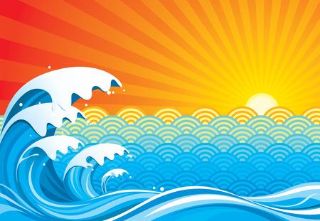 tide: Surf sol resumen, ilustraci�n vectorial capas archivo.  Vectores