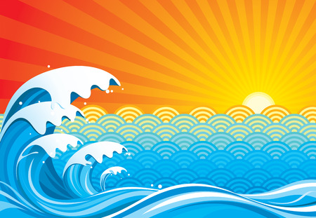 tide: Surf sun abstract, vector illustration layers file. Illustration