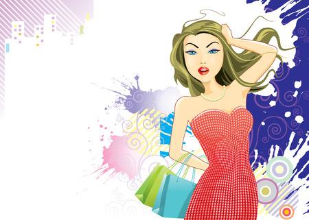 compras chica: Compras Modern Girl, ilustraci�n vectorial capas archivo.