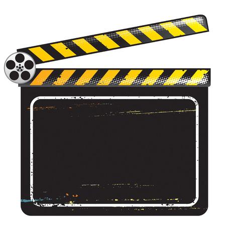 movie clapper: Clapper film consiglio di amministrazione, illustrazione vettoriale con strati di file.