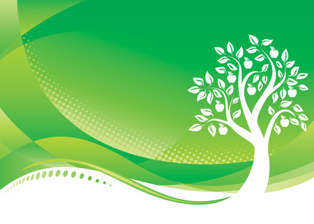 vector file: Green Tree background, Vector illustration layered file.