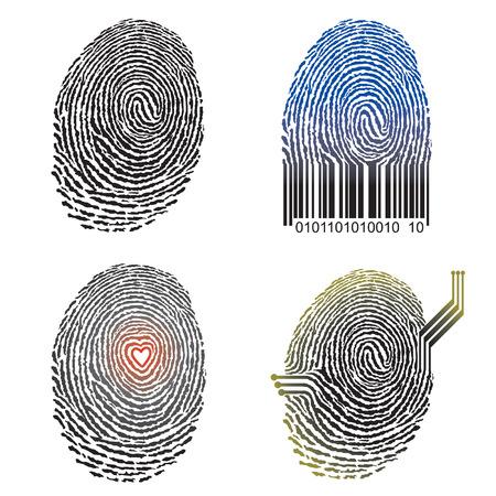 individualit�: Illustrazione vettoriale del concetto di impronte digitali.