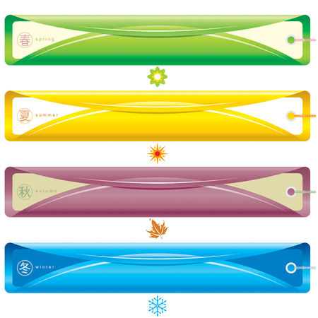 Four Season bookmark banner, vector illustration layers file. Chinese word for four season. Stock Vector - 3272255