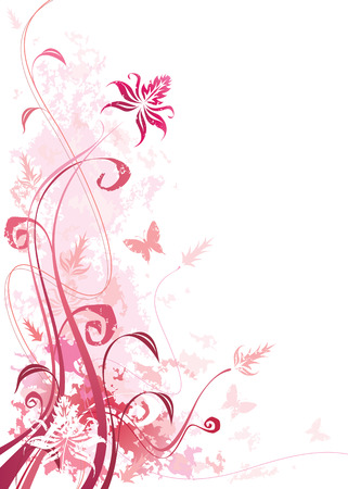 floral vector: Pink color floral with grunge effects, vector illustration layered file.