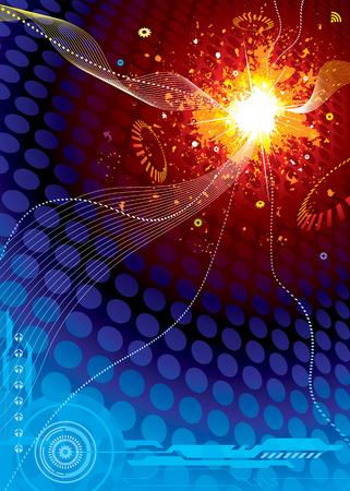 Technologie Spatiale Explosion, illustration vectorielle couches fichier.