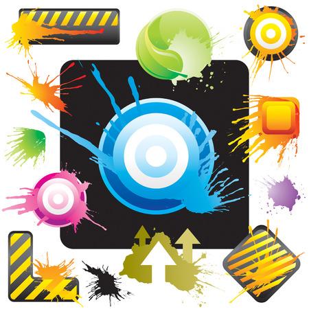 Grunge style symbol designs set, vector illustration layered file. Stock Vector - 3356742