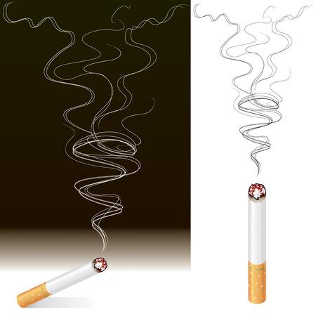 inhaling: Vector illustration of Smoke and Cigarette design. Illustration