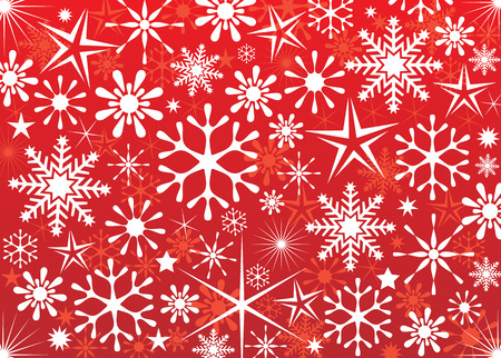 Red snowflakes wallpaper, vector illustration layers file.