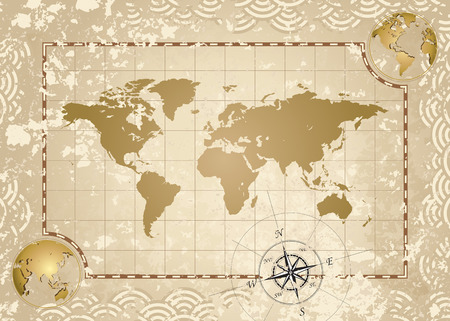 antique map: Antique style World Map, vector illustration layered.
