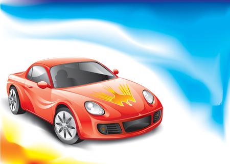 Red color Powerful racing car,  vector illustration layered.