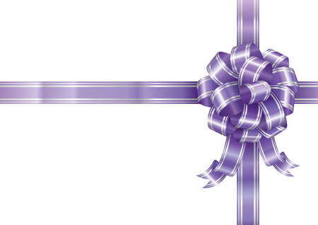 packing tape: Purple ribbon bow isolated on white background, vector illustration layered. Illustration