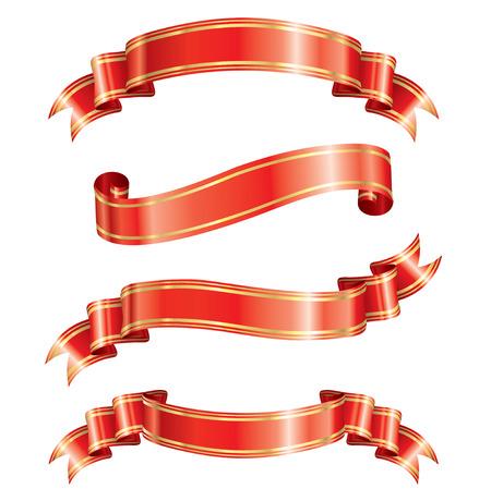 Elegance ribbon banner set of vector illustration.