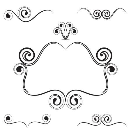 fancy border: vector illustration of simple ornament decoration set. Illustration