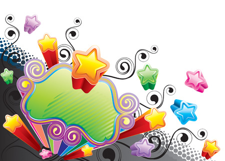 Funky Colorful Star, vector illustration layers file. Vector