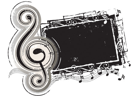 Grunge effect musical-note, vector illustration layered. Ilustrace