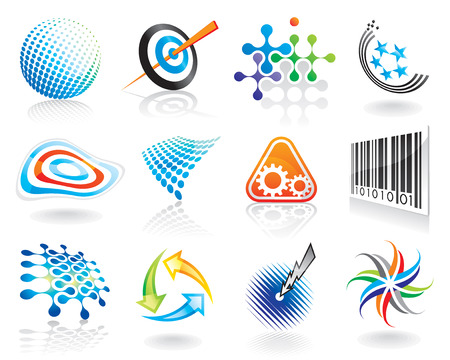 Set of abstract vector graphic symbol design (v01) Stock Vector - 3604553