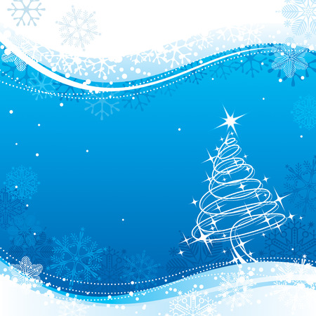 Blue color Christmas background, vector illustration layered. Stock Vector - 3684413
