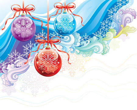 Beautiful Christmas ornaments background, vector illustration layered.