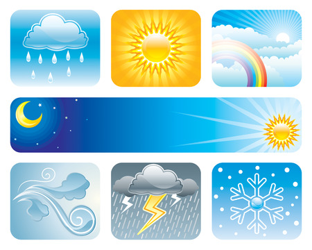 Weather and Climate of vector illustration layered.