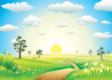 Sunny Meadow landscape of vector illustration layered.  Vector