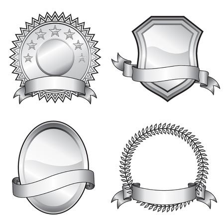 Black and white vector format of emblem elements.  Ilustrace