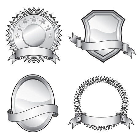 plaques: Black and white vector format of emblem elements.  Illustration