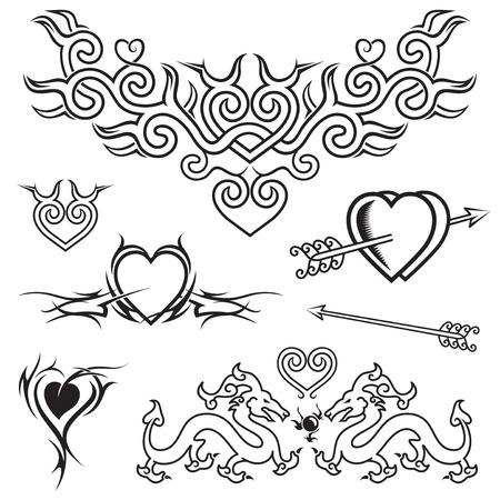 tatouage dragon: Forme de coeur tatouage design, en noir et blanc vecteur. Illustration