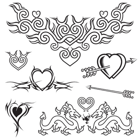 Heart shape tattoo design, black and white vector.  Vector