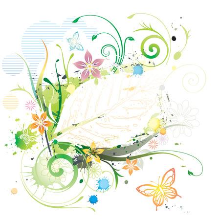 Water color Floral Frame, vector illustration layered.