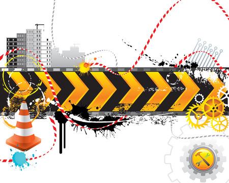 建設: 建設中のインターネットの web ページ、ベクトル層。  イラスト・ベクター素材