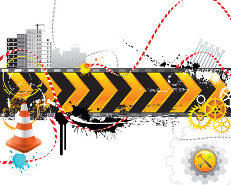 Under construction for internet web page, vector layered.  Vector